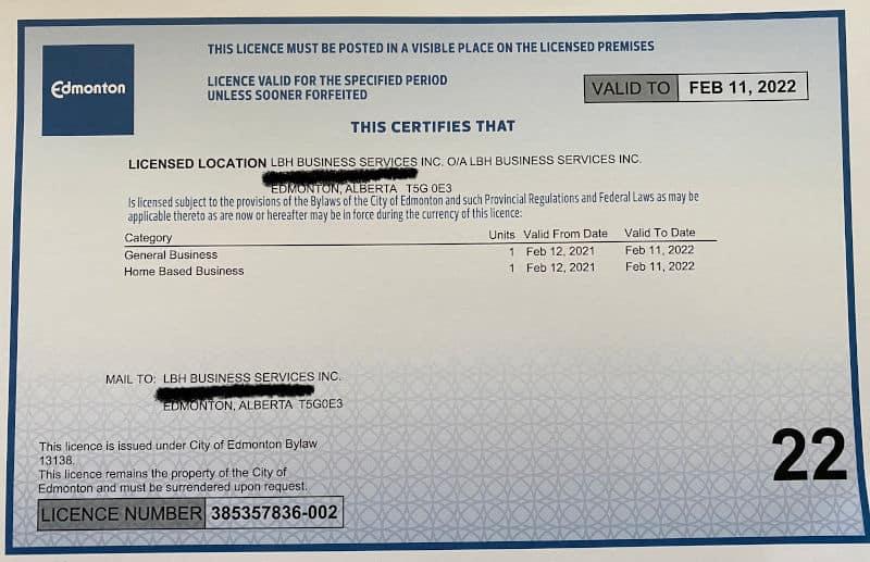 City of Edmonton Business License
