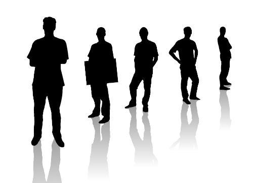 Shadow job hunters in a line